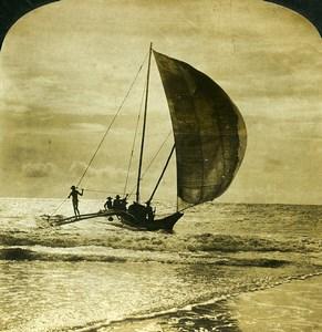 Ceylon Wellawatta Sinhalese Catamaran Old White Stereoview Photo 1900