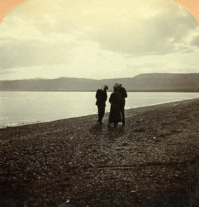 Palestine view on the Dead Sea Old Wright Stereoview Photo 1900
