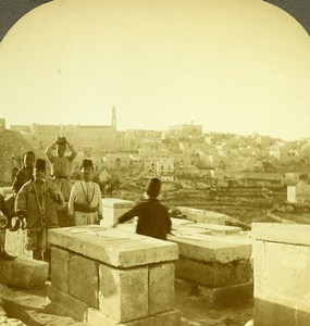 Palestine Bethlehem Panorama Old Stereoview Photo 1900