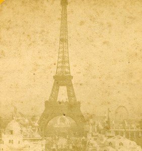 France Paris World Fair Tour Eiffel Tower Old Stereoview Photo 1889