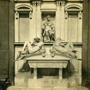 Italy Firenze Julien de Medicis Tomb Michelangelo Old Stereoview Photo SIP 1900