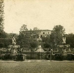 Italy Firenze Boboli Garden Neptune Fountain Old Stereoview Photo SIP 1900