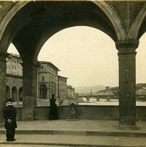 Italy Florence Firenze view from Ponte Vecchio Old Stereoview Photo SIP 1900