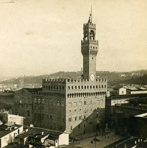 Italy Florence Firenze Panorama Palazzo Vecchio Old Stereoview Photo SIP 1900