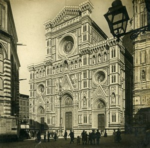 Italy Florence Firenze Cathedral Facade Old Stereoview Photo SIP 1900