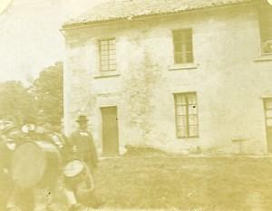 France Le Breuil arrivée de la musique fanfare Ancienne Stereo Photo amateur 1900