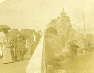 France Biarritz Rocher de la Vierge Old Amateur Stereoview Photo 1900
