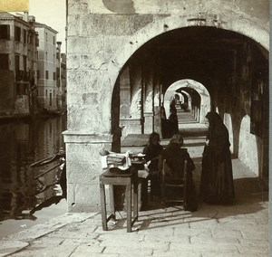 Italie Chioggia Canal Vena Arcades Ancienne Photo Stereo Amator 1900