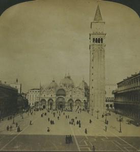 Italie Venise Place Saint-Marc Campanile ancienne photo stereo Stereoscope White 1900
