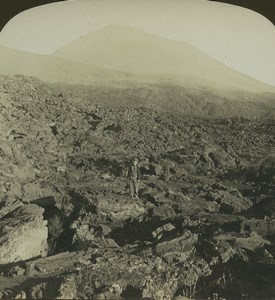 Italie Naples Vesuve Volcan Lave ancienne photo stereo Stereoscope White 1900
