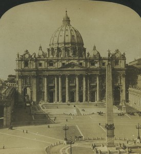 Rome Vatican St. Peter's Square Old Stereo Photo Stereoview HC White 1900