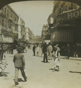 Algerie Oran rue moderne Au Bon Marché ancienne photo stereo Stereoscope White 1900