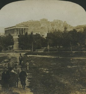 Greece Athens Acropolis Panorama Old Stereo Photo Stereoview HC White 1900
