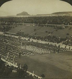 Greece Athens School Children Stadium Old Stereo Photo Stereoview HC White 1900