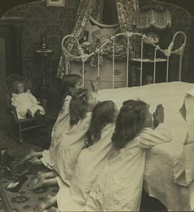 USA La Priere des Enfants Poupée ancienne photo stereo Stereoscope White 1900