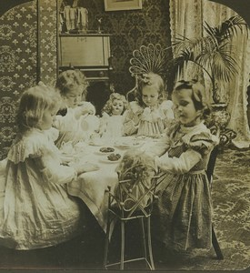 USA La Tea Party Poupée Enfants ancienne photo stereo Stereoscope White 1900