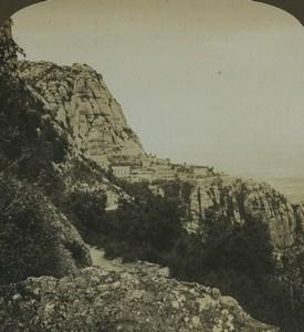 Spain Santa Maria de Montserrat Monastery Old Photo Stereoview AMC 1900