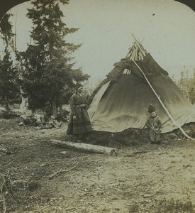 North Sweden Lapland Home Tent Old Photo Stereoview AMC 1900