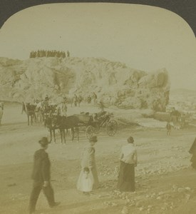 Greece Athens Areopagus Mars Hill Old Photo Stereoview Excelsior 1900