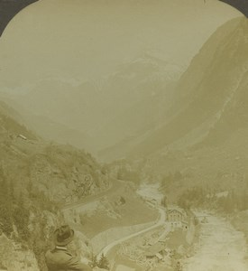Switzerland Gotthard Pass Alps Old Photo Stereoview Excelsior 1900