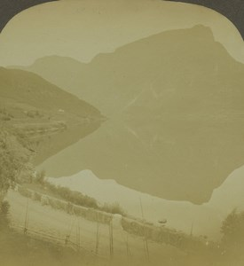 Norway Lake Vangsmjøse Mirror effect Old Photo Stereoview Excelsior 1900