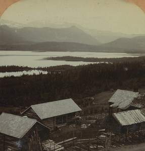 Norway Hedals Lake Beito Farm Old Photo Stereoview Excelsior 1900