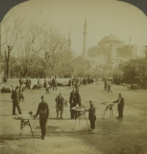 Turkey Constantinople Street view Mosque Old Photo Stereoview Excelsior 1900