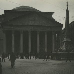 Italie Rome Pantheon Façade Ancienne Photo Stereo Possemiers 1910