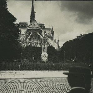 France Paris Notre Dame Cathedral Fountain Old Possemiers Stereoview Photo 1920