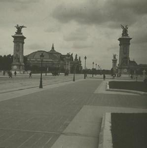 France Paris Bridge Alexandre III Grand Palais Possemiers Stereoview Photo 1920
