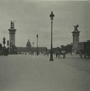 France Paris Bridge Alexandre III Invalides Old Possemiers Stereoview Photo 1920