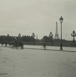 France Paris Bridge Alexandre III Eiffel Tower Possemiers Stereoview Photo 1920