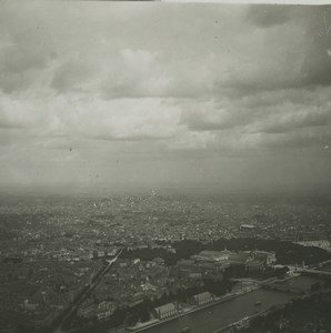 France Paris Panorama from Eiffel Tower Old Possemiers Stereoview Photo 1920