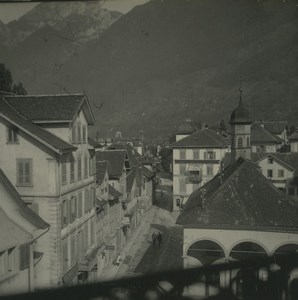 Switzerland Brunnen Panorama Old Possemiers Stereoview Photo 1920