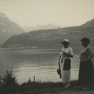 Switzerland view towards Treil & Seelisberg Old Possemiers Stereoview Photo 1920