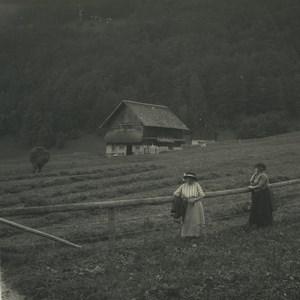 Switzerland Melchtal Fields Old Possemiers Stereoview Photo 1920