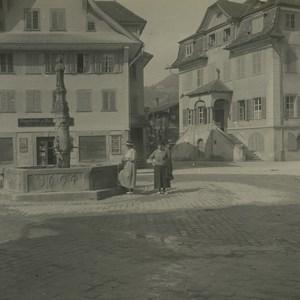 Suisse Sarnen Place du marché Ancienne Photo Stereo Possemiers 1920