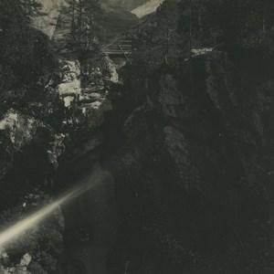 Suisse Rosenlui Sortie de la Gorge Ancienne Photo Stereo Possemiers 1920