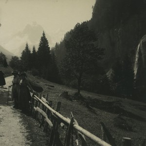Suisse Meiringen route de Rosenlui Ancienne Photo Stereo Possemiers 1920