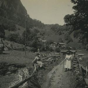 Switzerland Meiringen houses of Platten Hamlet Possemiers Stereoview Photo 1920