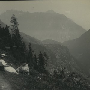 Switzerland Finhaut at the top of the ridge Old Possemiers Stereoview Photo 1920