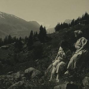 Switzerland Finhaut Col de la Gueulaz Old Possemiers Stereoview Photo 1920