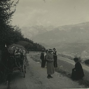 Switzerland road to Val d'Herens Old Possemiers Stereoview Photo 1920
