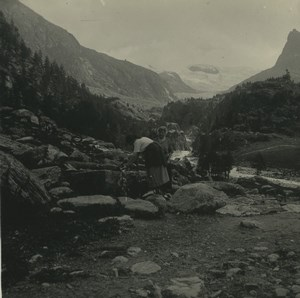 Switzerland Val d'Herens Ferpecle Old Possemiers Stereoview Photo 1920