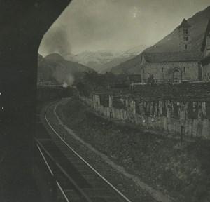 Suisse Giornico Eglise et Vignoble vue du Train Ancienne Photo Stereo Possemiers 1920