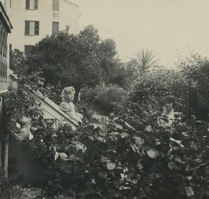 France Corse Ajaccio Hotel des Etrangers Jardins Ancienne Photo Stereo Possemiers 1920