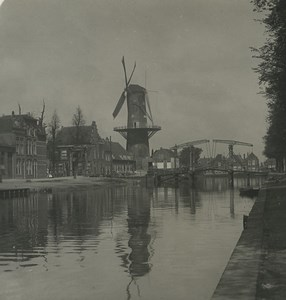 Pays Bas Leiden ancien moulin ancienne photo stereo NPG 1900