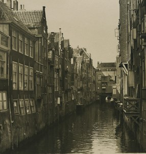 Pays Bas Dordrecht vieux canal ancienne photo stereo NPG 1900