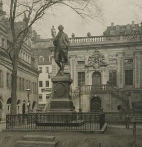 Allemagne Leipzig Statue de Goethe ancienne photo stereo NPG 1900
