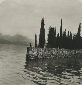 Italy Lake Garda Island of Garda Old NPG Stereoview Photo 1900